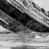Sinking of the Lusitania. Engraving by Norman Wilkinson, The Illustrated London News, May 15, 1915.