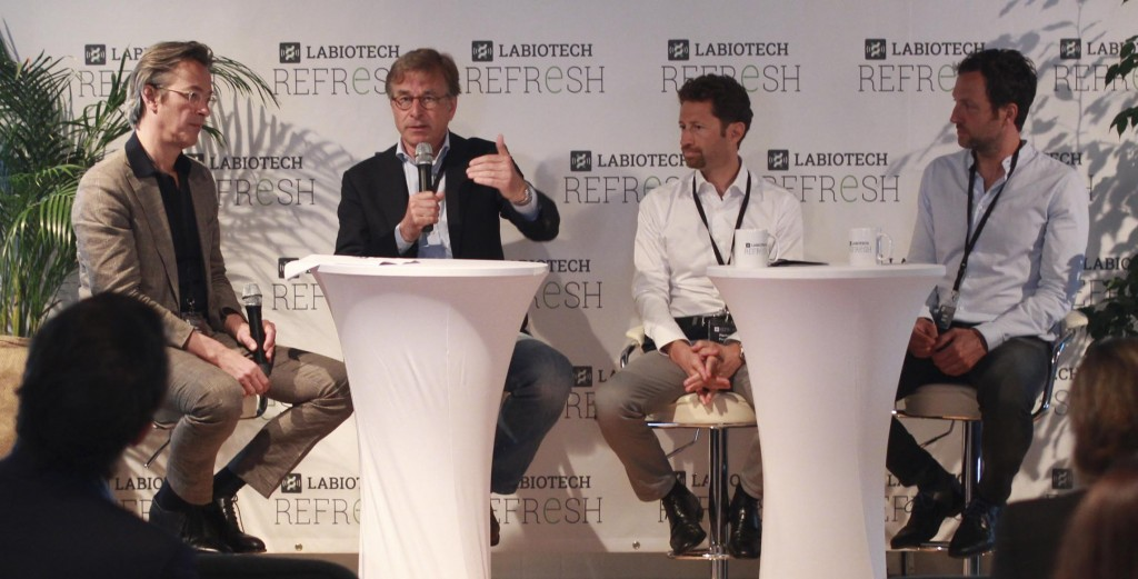 Joern spoke about uniQure and Glybera at Labiotech Refresh in a Gene Therapy panel with Hans Herklots (Managing Director of Capricorn One), Pierluigi Paracchi (CEO of Genenta) and Kilian Guse (CEO of GeneQuine). (CC 3.0 Labiotech / Claire Braun)