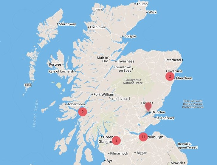 scotland labiotech map edinburgh glasgow aberdeen