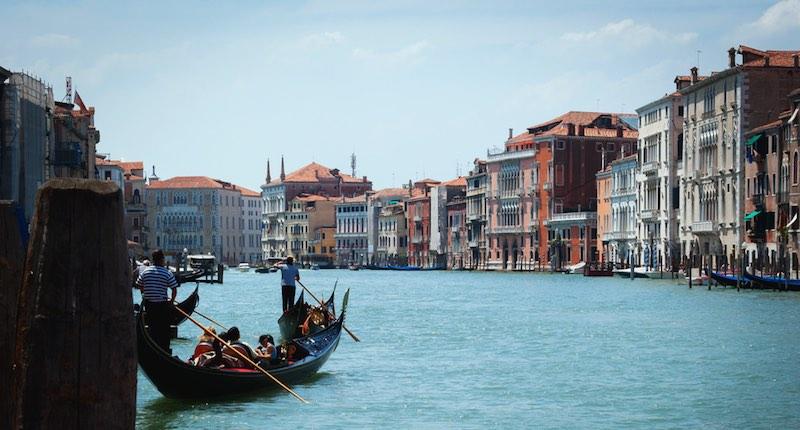 A gondola on a Venice canal