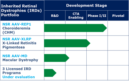 nightstarx blindness gene therapy pipeline