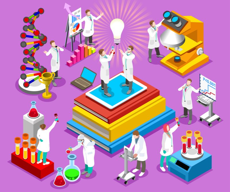 Good research team concept cartoon - biotech vs pharma